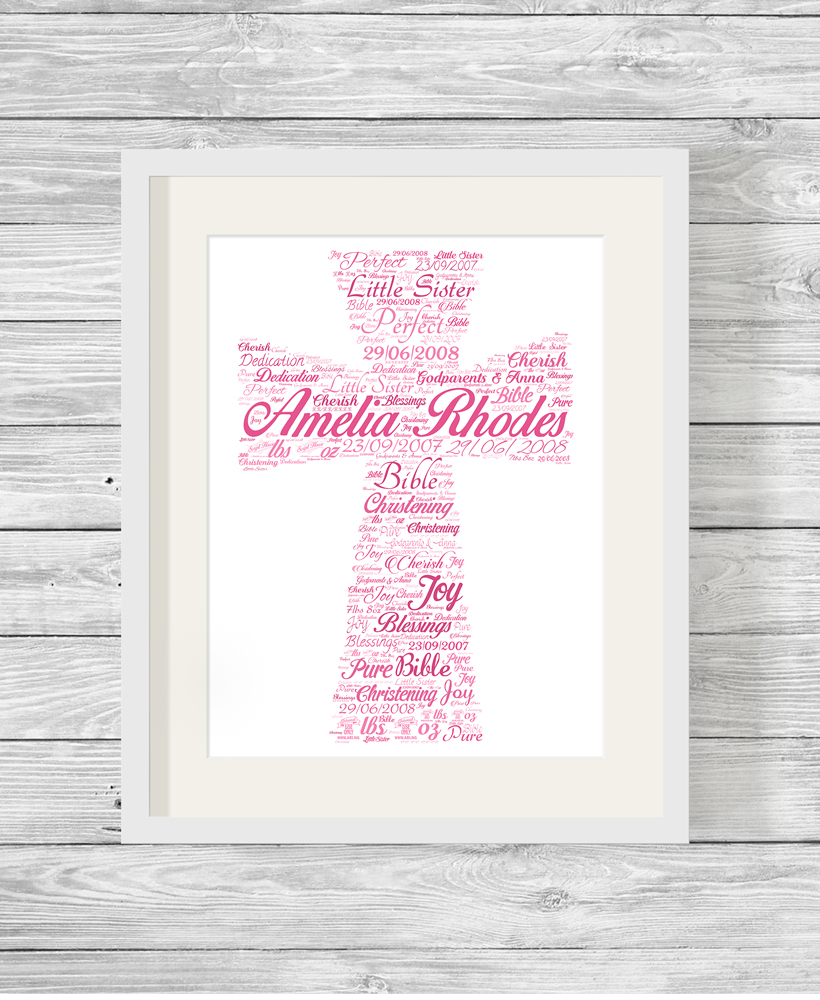 Personalised Bespoke Pink Cross Christening Word Art Print  Show It With Words