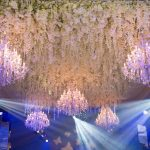 flower ceiling with chandeliers