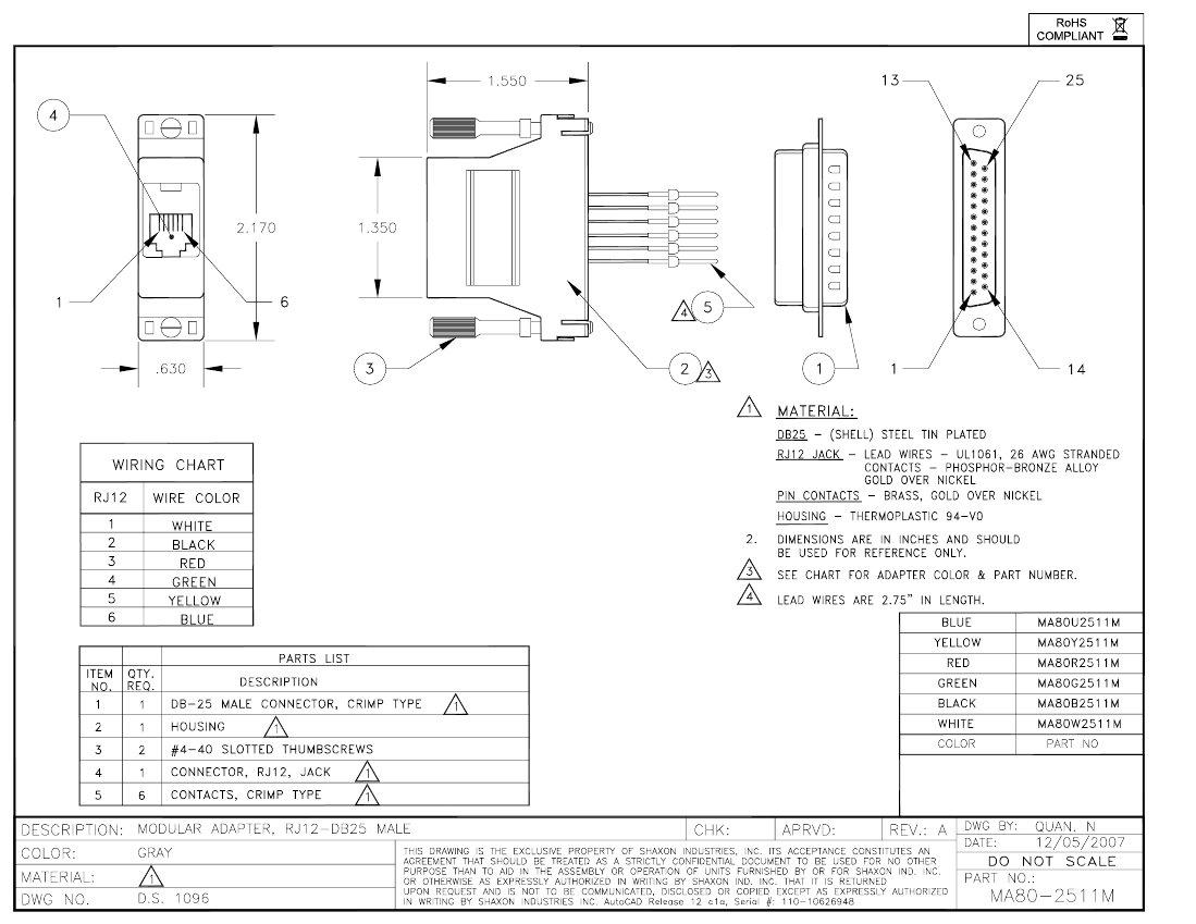 modular phone jack wiring diagram yamaha banshee harness db25 male to rj12 adapter kit 6 conductor