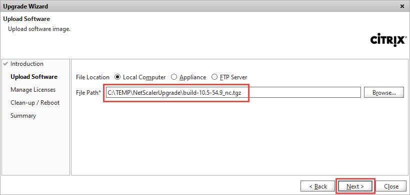 NetScaler Upgrade Wizard Firmware File