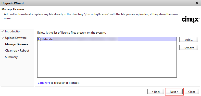 NetScaler Upgrade Wizard Licenses