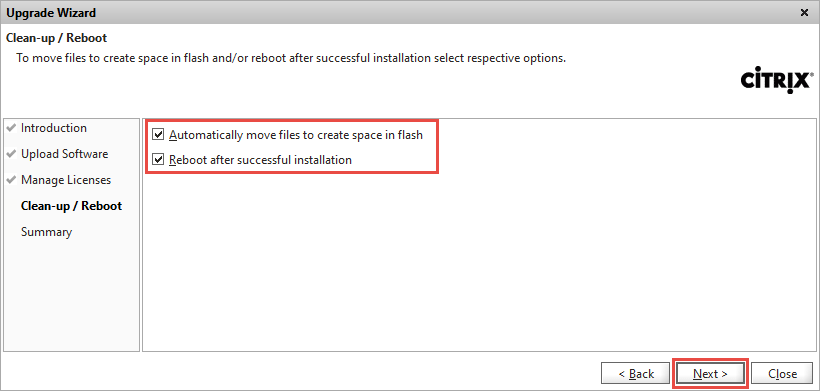 NetScaler Upgrade Wizard Reboot Confirmation