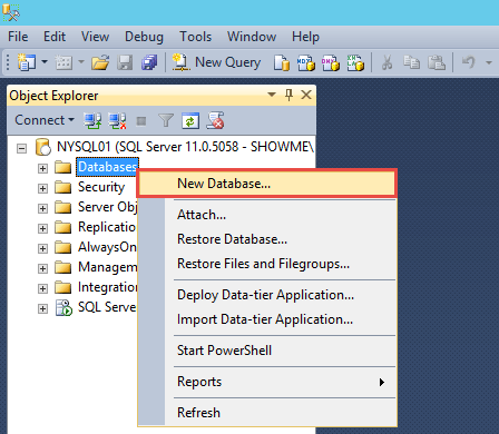 Create SQL Database