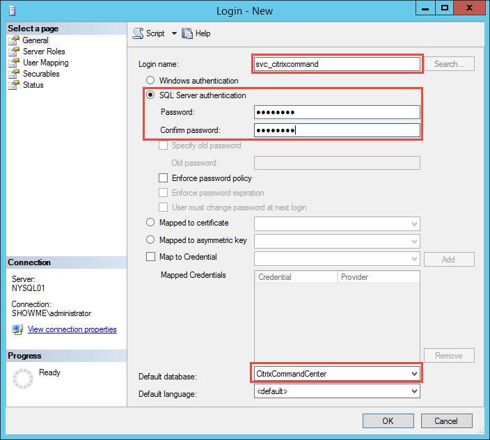 Create SQL Account