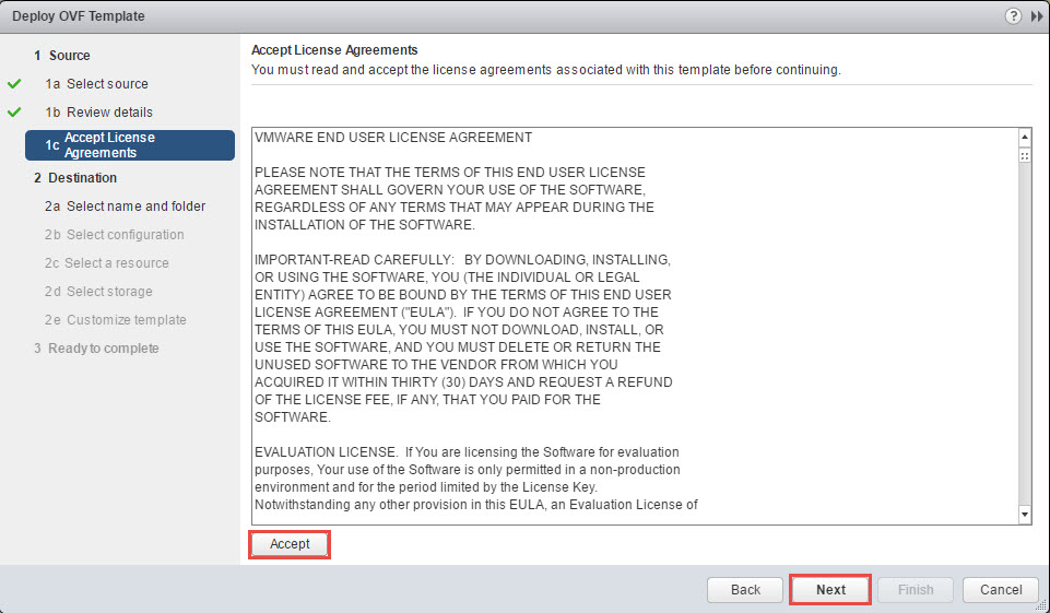 vRealize Operations Manager Accept Agreement during deployment