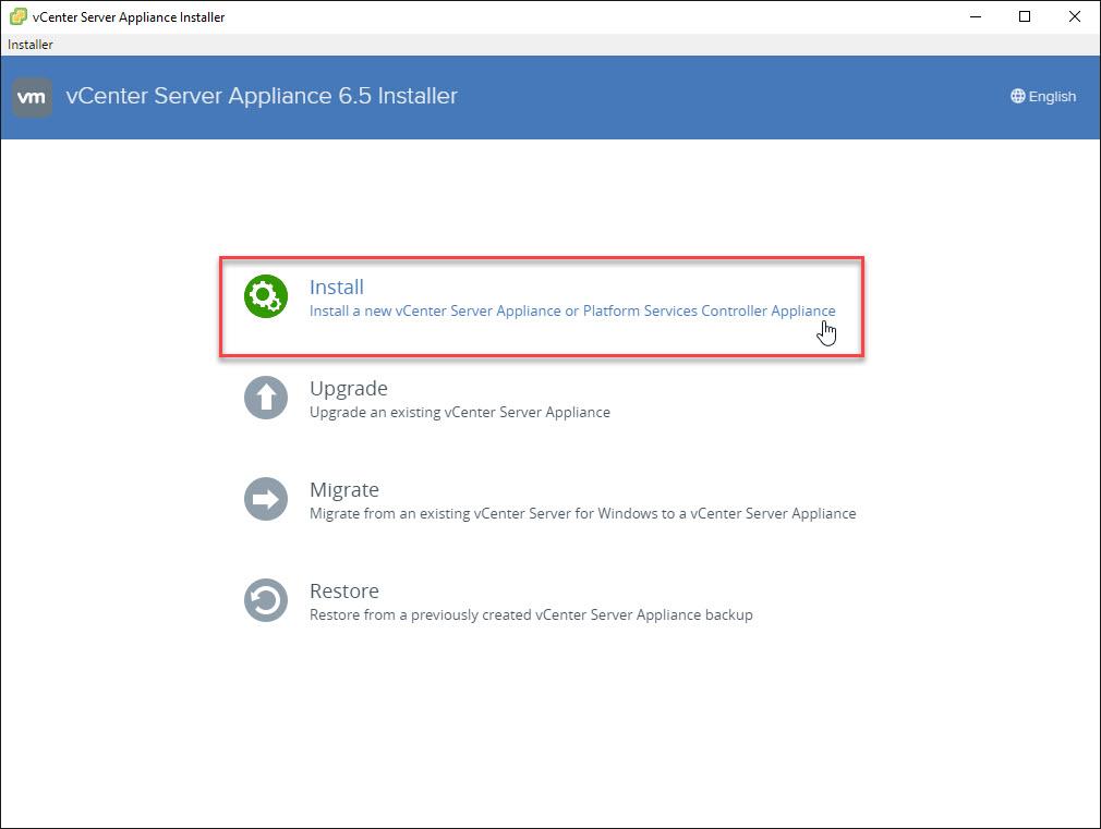 VMware vSphere vCenter 6.5 Installation Wizard