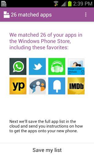 Android Windows Phone app - App lista quais aplicativos do seu Android já existem no Windows Phone