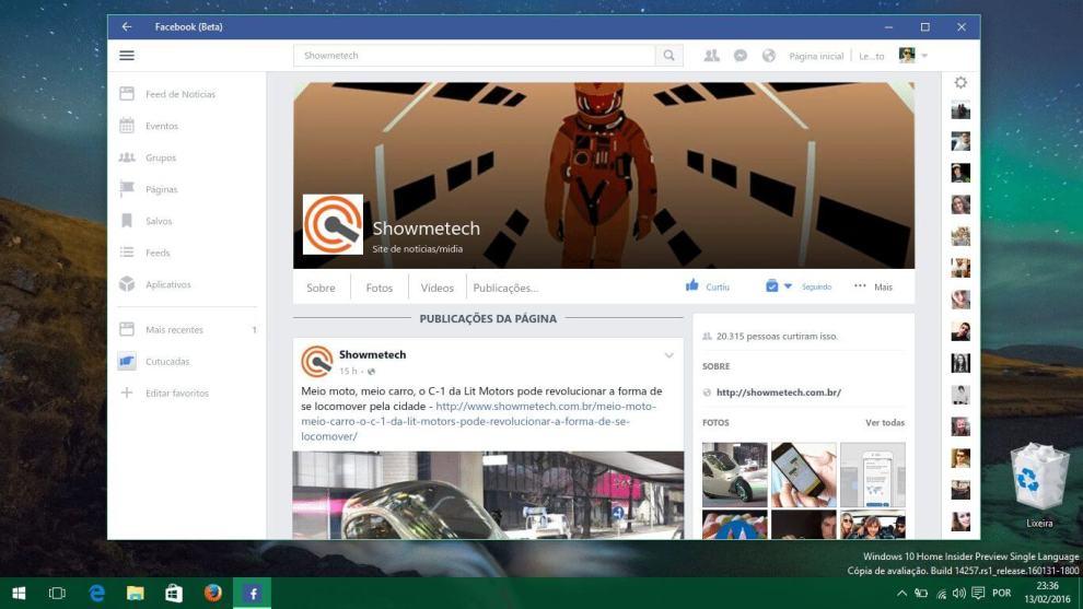 captura de tela 10 - Acesso ao Facebook Beta para Windows 10 é liberado para todos os usuários