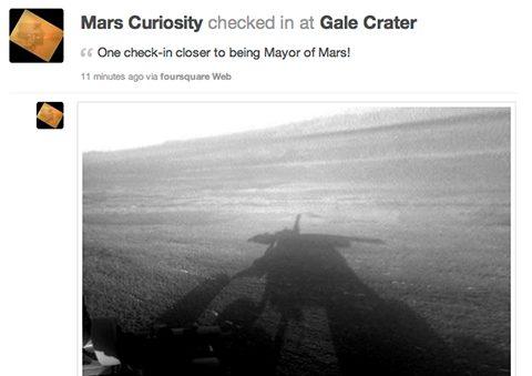 marscuriosity - Missão Curiosity faz o primeiro check-in no Foursquare em... Marte