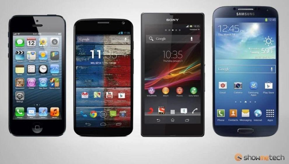 Comparativo smartphones Apple iPhone 5 Sony Xperia ZQ Samsung Galaxy S4 Motorola Moto X - Venda de smartphones dispara no terceiro trimestre