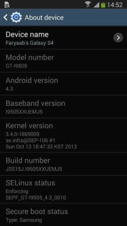 Samsung Galaxy S4 official firmware Android 4.3 Jelly Bean