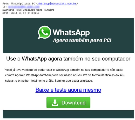 Promessa de WhatsApp para PC é golpe