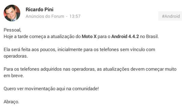 Anuncio da atualização para o Android KitKat