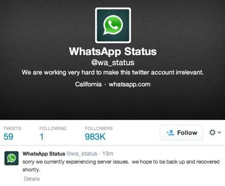 Captura de Tela 2014 02 22 às 16.30.40 - Sistema cai e WhatsApp fica fora do ar neste sábado