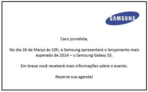 Convite para apresentação do Galaxy S5 para jornalistas no dia 26/3