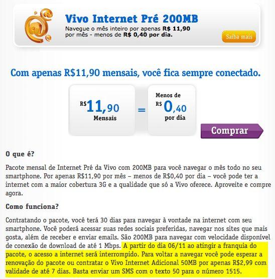 """vivo internet pre 200mb - Vivo modifica planos """"ilimitados"""" e aumenta preço do 4G em todo o país"""