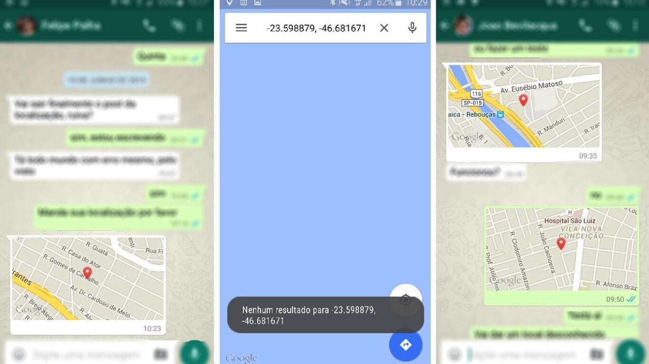 erro localizacao whatsapp maps google - Exclusivo: falha impossibilita encontrar localização enviada via WhatsApp no app Maps