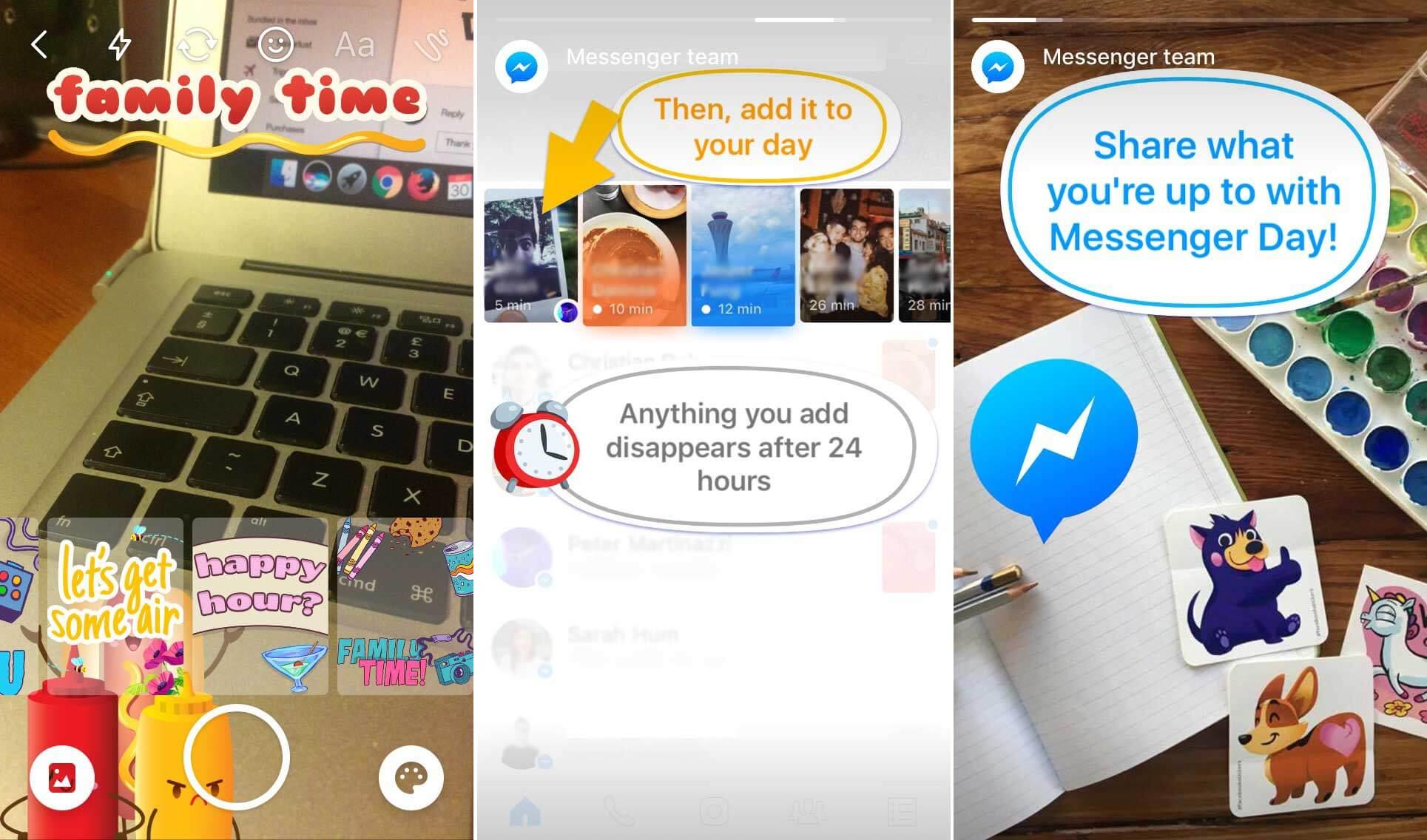 """facebook messenger my day - Cópia do Snapchat, Facebook Stories chamado """"Messenger Day"""" é lançado oficialmente"""