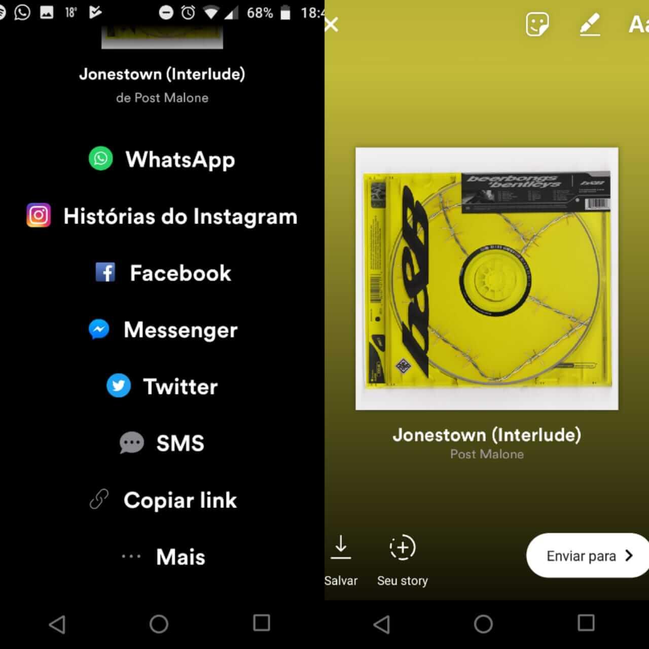 Como compartilhar músicas do Spotify no Instagram 7