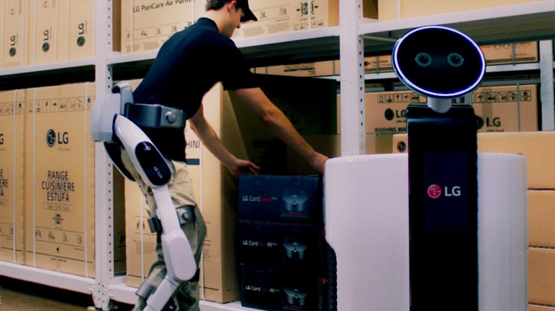 Novo robô da LG que deve ser apresentado da IFA 2018, para ajudar pessoas em funções que exigem esforço.