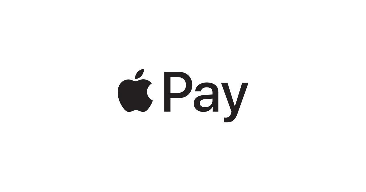Logomarca em preto e branco do Apple Pay, método de pagamento da Apple.