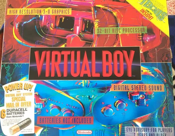 A caixa da versão americana do Virtual Boy esbanjava cores. Infelizmente, o console não era tão variado em cores assim.