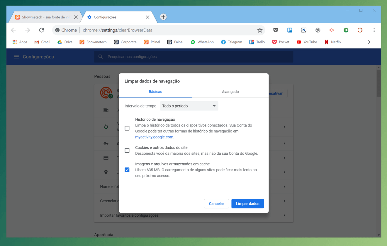 Limpeza do browser: aprenda a limpar a cache e histórico do navegador 8