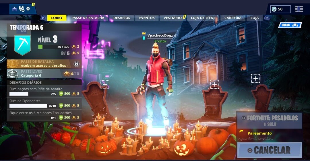 Nova tela inicial do Fortnitemares: evento de Halloween do Fortnite