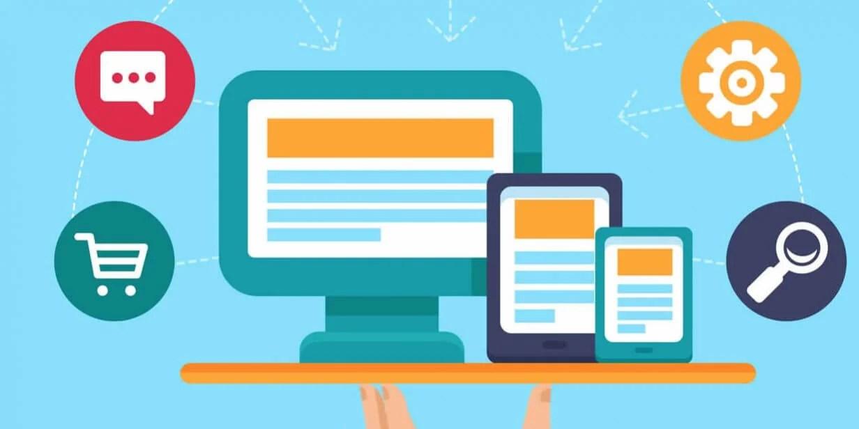 Imagem de um computador com uma plataforma de criação de sites'