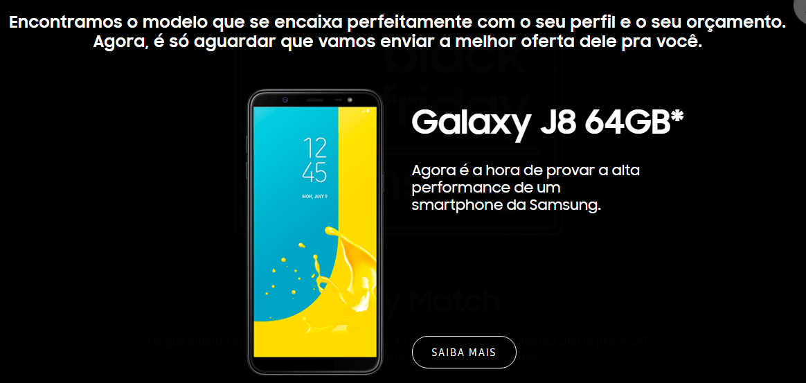 Terceira tela do Galaxy Match, ferramenta para escolha de novo smartphone desenvolvida pela Samsung
