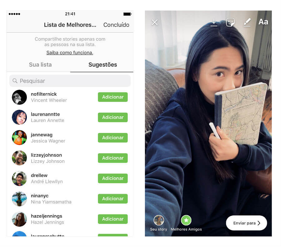 Foto explicativa de como selecionar lista privada para amigos visualizarem Instagram Stories