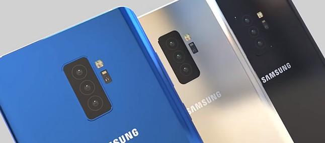 Três possíveis imagens do novo Galaxy S10, um azul, um prata e um preto