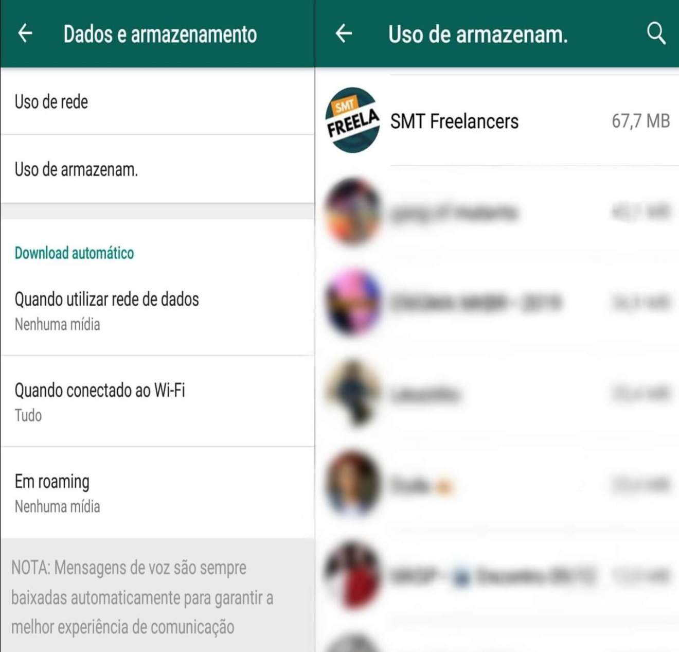 Tela explicativa de como saber quais grupos do WhatsApp possuem mais arquivos