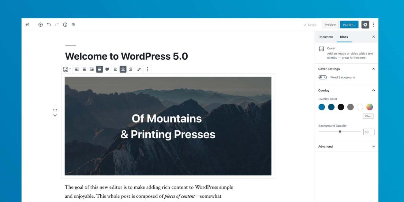 O WordPress 5.0 é baseado em blocos