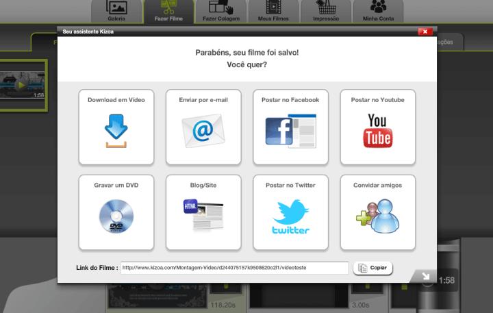 Janela que mostra várias opções, como o Download de vídeo, envio para o Facebook, Youtube e até Twitter também