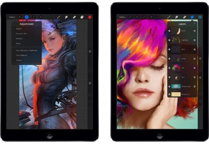 Duas capturas de tela do aplicativo Procreate