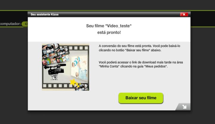 Janela te informando que o vídeo está pronto e renderizado e que está pronto para download ou afins