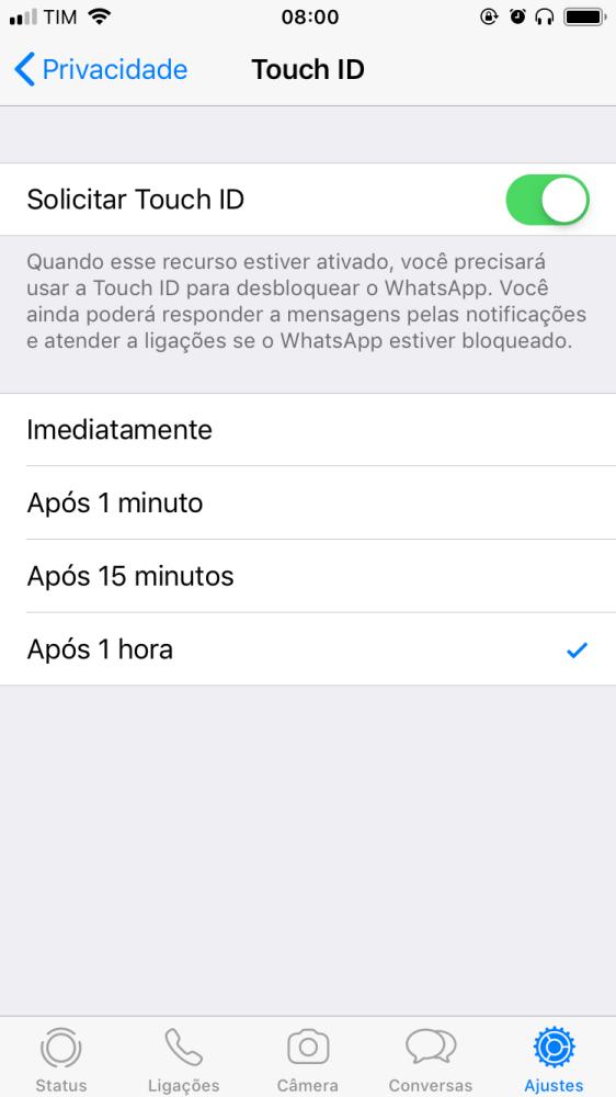 A tela do WhatsApp será bloqueada após o período definido pelo usuário