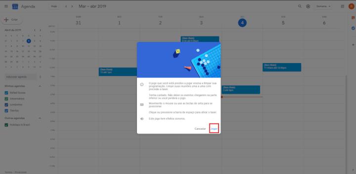 Jogue agora mesmo Space Invaders no Google Calendar