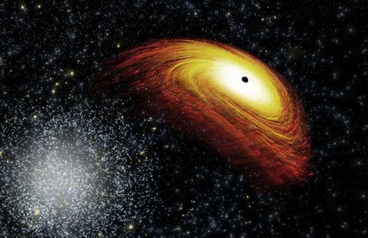 Ilustração de um buraco negro que cientistas acreditam existir a partir de observações da NASA