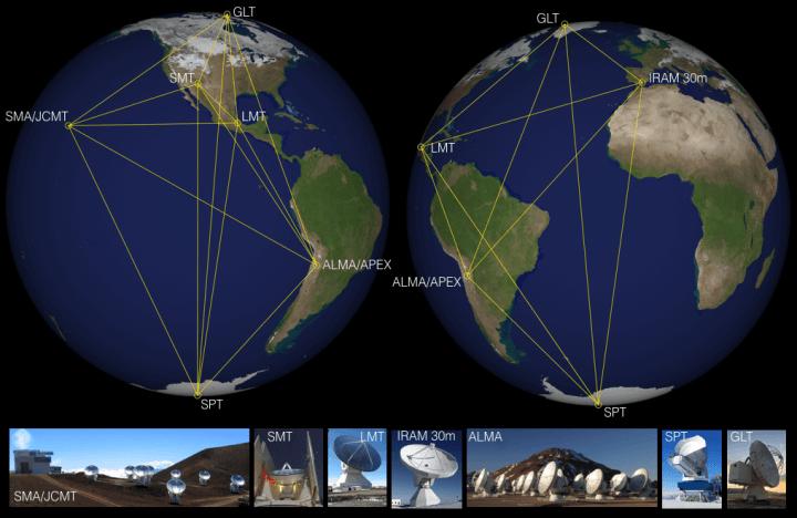 Os telescópios da EHT são distribuídos em diversos pontos no mapa