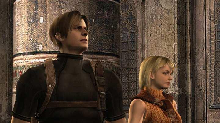 Leon, o protagonista do game e Ashley. Ambos estão em um castelo, Leon olhando pra cima como se visse algo surpreendente.