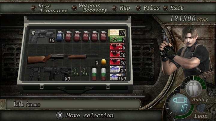 Captura de tela da maleta de itens de Leon em Resident Evil 4 . Contém uma pistola, uma escopeta, uma submetralhadora, quatro ervas de cura, 5 granadas incendiárias, 1 granada de flash (que solta um brilho que cega os inimigos temporáriamente), 1 ovo dourado e uma série de munições para essas armas.