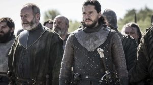 Sor Davos e Jon Snow na prévia do 5º episódio de Game of Thrones.