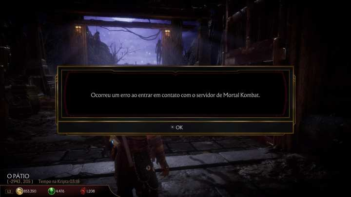 Captura de tela do modo kripta, exibindo uma mensagem de erro de conexão com o servidor do mortal kombat.