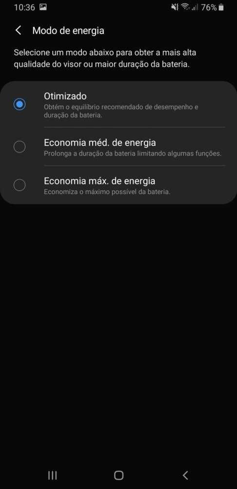 Otimização da bateria do Galaxy A9 2018