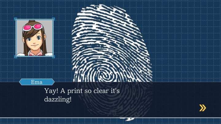 Foto mostra uma das mecânicas presentes em Phoenix Wright, achar digitais nos locais do crime.