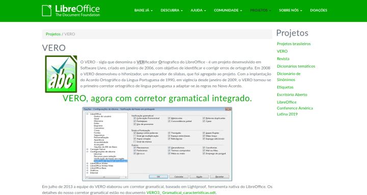 Vero Verificador Ortográfico LibreOffice