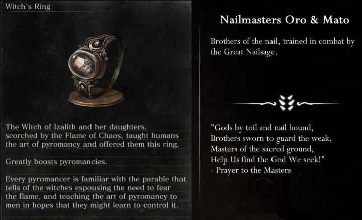 Tanto Dark Souls (esquerda) quanto Hollow Knight (direita) apresentam descrições de itens vagas para provocar a curiosidade do jogador sobre a história de seu mundo.