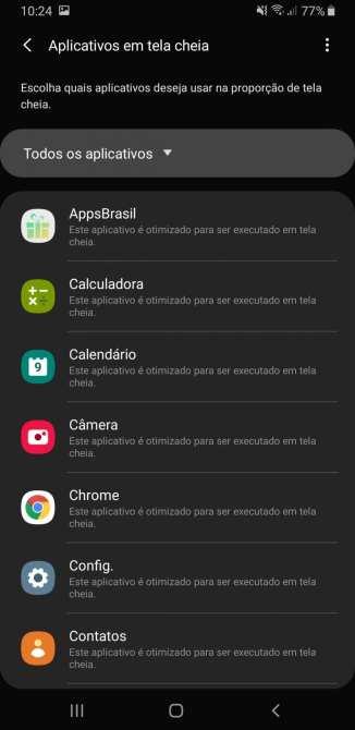 Apps em tela cheia Galaxy A9 2019